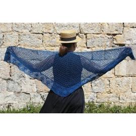 Blue Leaves - crochet shawl