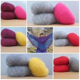 Kit for Bluebird shawl in mohair and silk