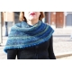 Out of the Blue - knitted shawl with crocheted border